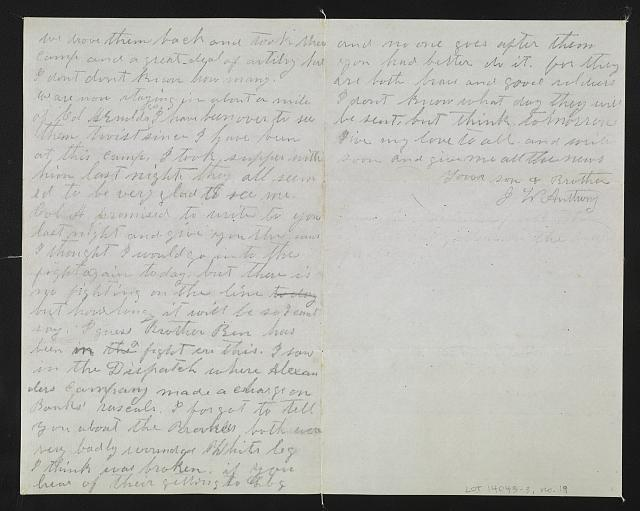 [Letter from John W. Anthony to Ma, Pa, and Callie]