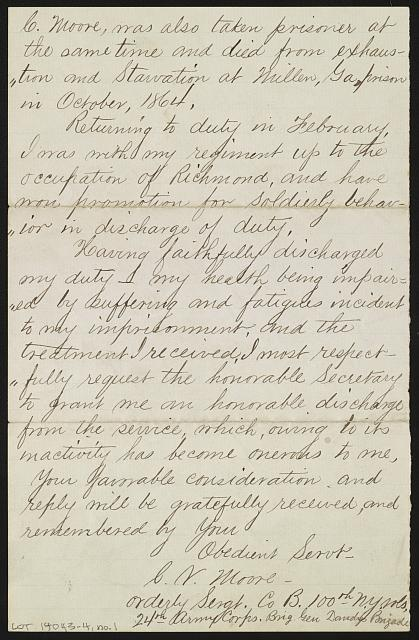 [Letter from Cornelius V. Moore to Secretary of War Edwin M. Stanton asking for discharge]