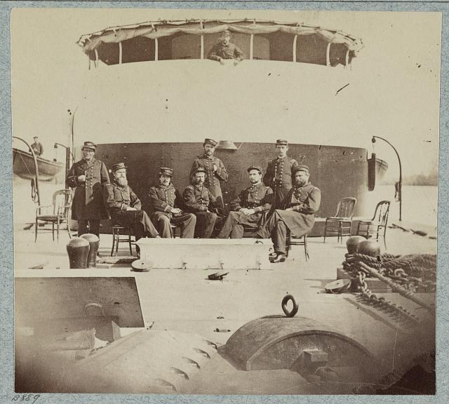 Officers on deck of monitor Saugus, James River, Virginia