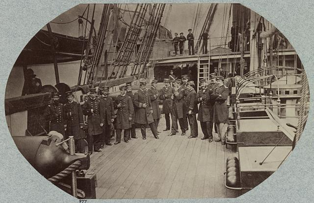 Officers on deck of U.S.S. Susquehannah
