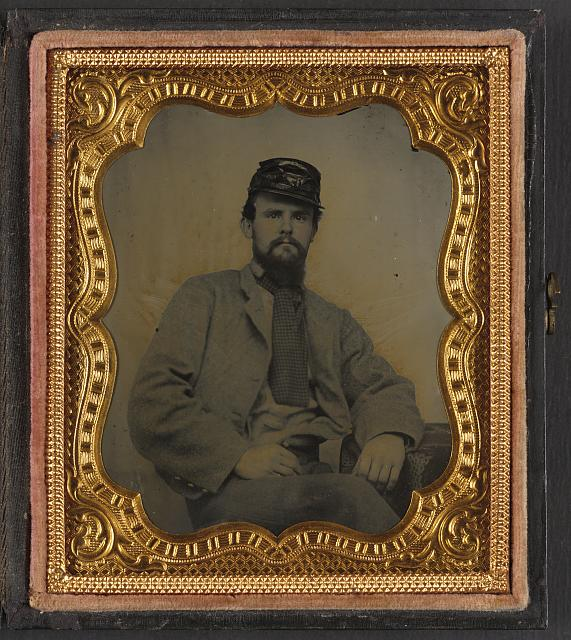 [Private Richard F. Bernard of Co. A, 13th Virginia Infantry Regiment, in uniform]