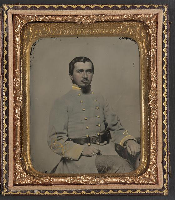 [Unidentified soldier in Confederate lieutenant's uniform and eagle belt plate]