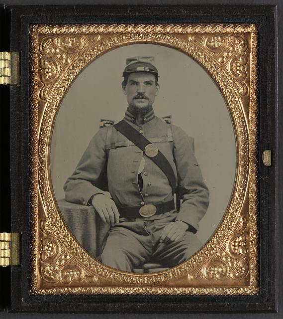 [Unidentified soldier in Union uniform, backpack, and U.S. beltplate]