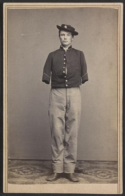 [Private William Sergent of Co. E, 53rd Pennsylvania Infantry Regiment, in uniform, after the amputation of both arms]
