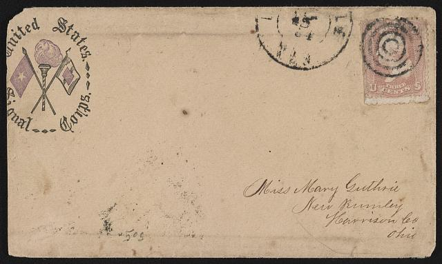 [Civil War envelope showing United States Signal Corps insignia]