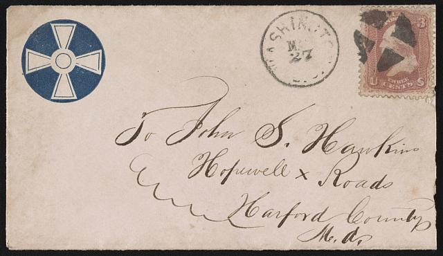 [Civil War envelope showing Army of the Potomac, 6th Corps, 3rd Division, badge with white cross]