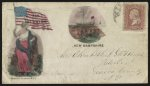 "[Civil War envelope showing woman holding flag with message ""For the Union"" and USS New Hampshire]"