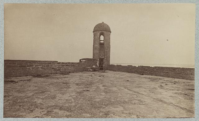 Fort Marion, Saint Augustine, Florida, sentry tower at Salient on parapet