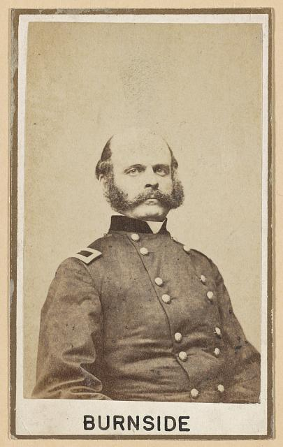 [Brig. Gen. Ambrose E. Burnside, head-and-shoulders portrait, head three-quarters to the right, facing front, wearing military uniform]