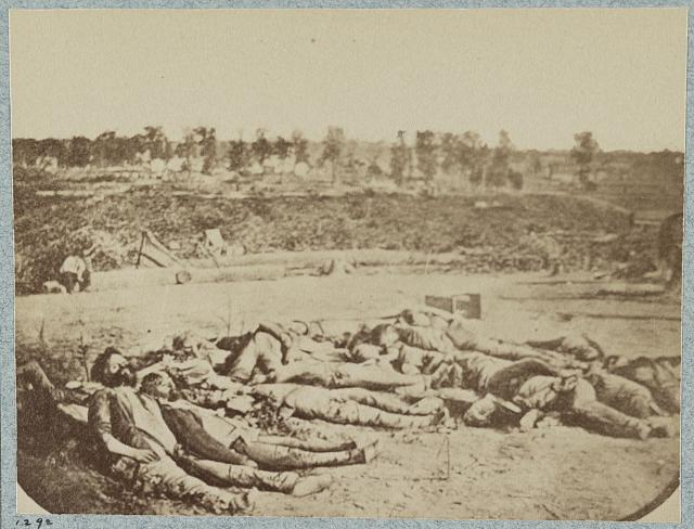 Confederate dead in front of Fort Robinette, Corinth, Mississippi