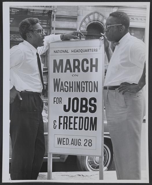 Bayard Rustin and Cleveland Robinson at March on Washington, August 7, 1963, New York World-Telegram and the Sun Newspaper Photograph Collection, LOC