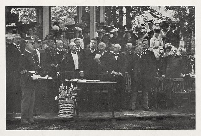 [Theodore Roosevelt reading names of cadets graduating from Annapolis]