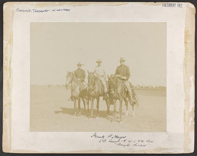 [Theodore Roosevelt and other Rough Riders on horseback]