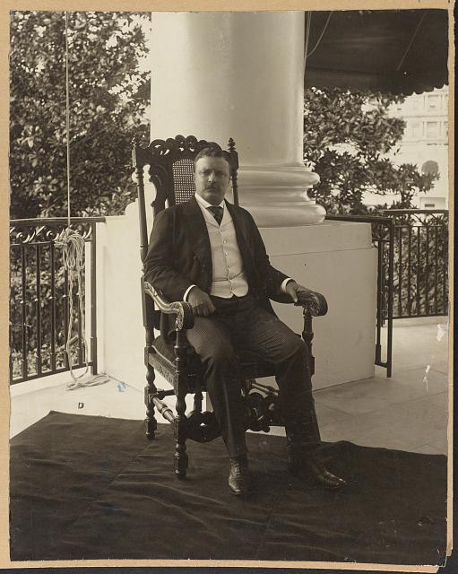 [Theodore Roosevelt, full-length portrait, sitting in chair, facing front]