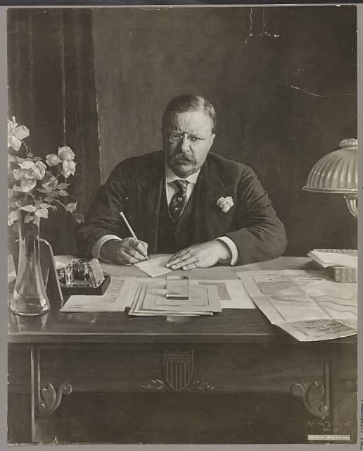 [Theodore Roosevelt, half-length portrait, seated at desk, facing front]