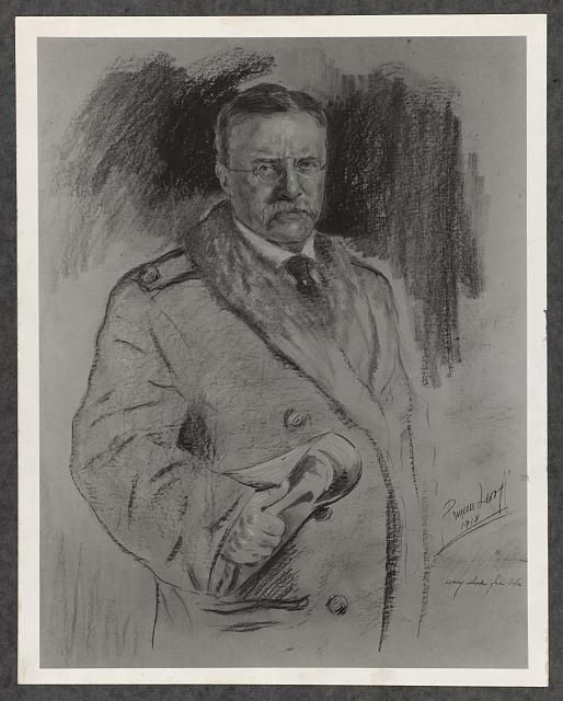 [Theodore Roosevelt, three-quarter length sketch portrait, standing, holding an item in his right hand]