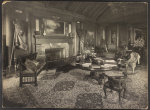 [Trophy room at Sagamore Hill, summer home of President Theodore Roosevelt, with bison heads over the mantle]