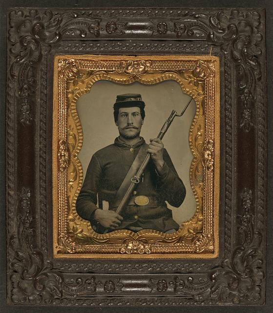 [Private William F. Bower of Company D, 21st Ohio Regiment Infantry Volunteers, with bayoneted musket]