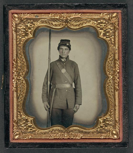 [Private James M. Bash of Company E, 67th Pennsylvania Volunteers in uniform with bayoneted musket]