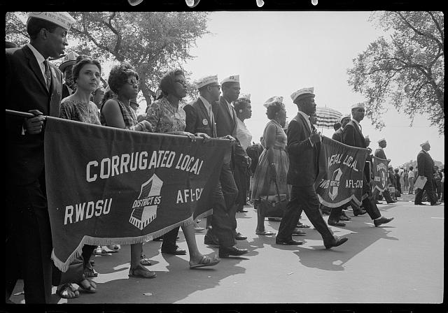 "[Marchers with ""Metal Local, Corrugated Local"" banner at the March on Washington, 1963]"