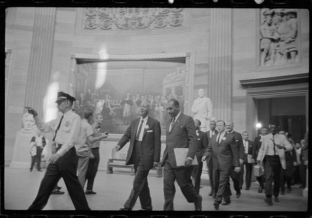 [A. Philip Randolph and other civil rights leaders on their way to Congress during the March on Washington, 1963]