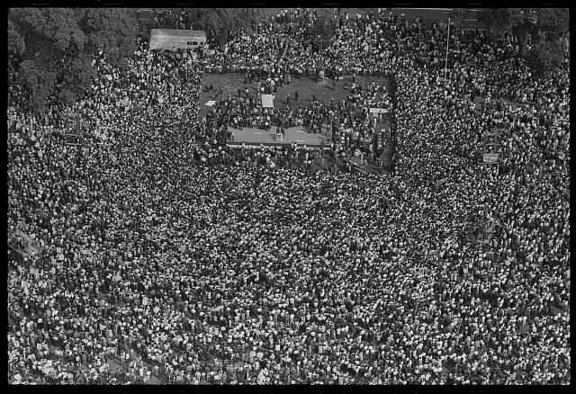 [Aerial view of crowd and stage at the March on Washington, 1963]