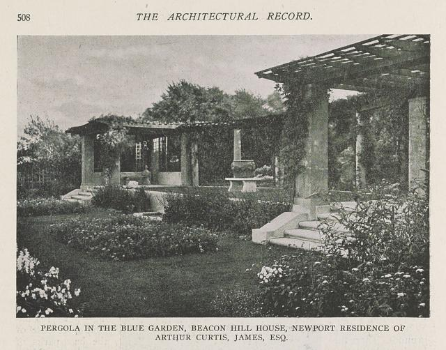 Pergola in the Blue Garden, Beacon Hill House, Newport residence of Arthur Curtis James, Esq.