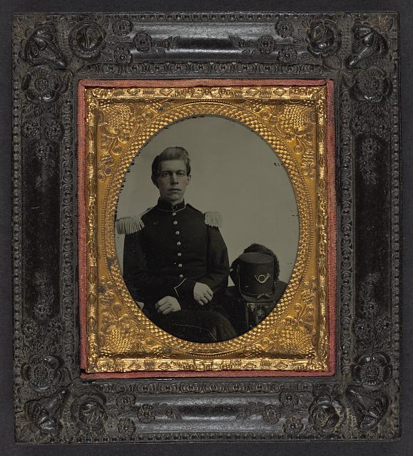 [Unidentified soldier in Union uniform and epaulettes with infantry Hardee hat]