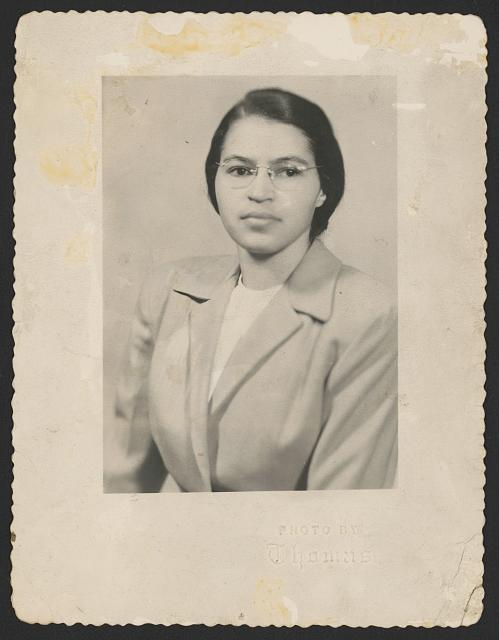 Thomas. Rosa Parks, half-length portrait, facing slightly left. 1950. Prints and Photographs Division.