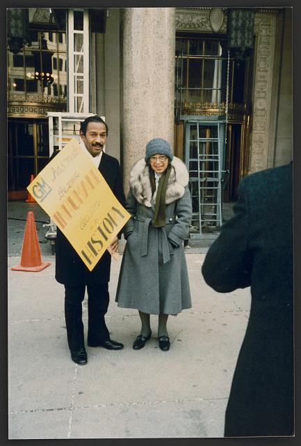 Rosa Parks and U.S. Congressman John Conyers, Jr., picketing in front of General Motors corporate headquarters, Detroit, Michigan. 1986. Prints and Photographs Division.