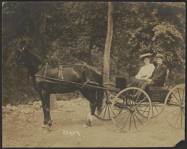 Martha Ewing and George W. Harris out for a buggy ride in California about 1903