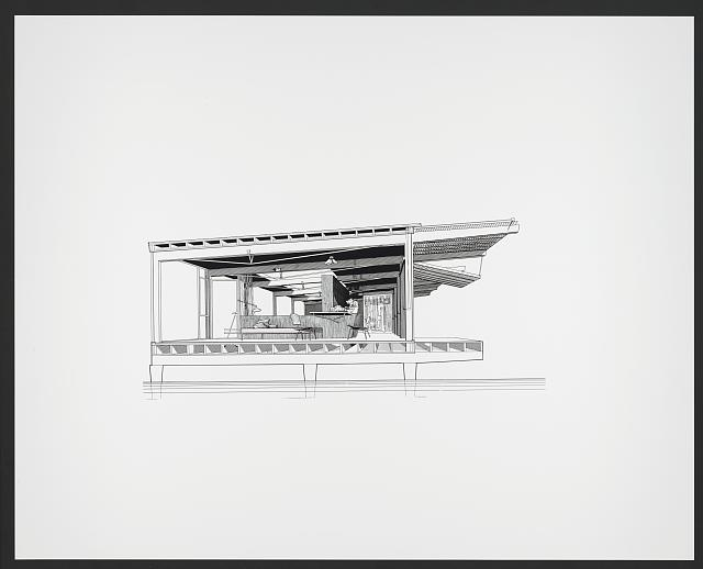 [Finney guest house, Siesta Key, Florida (project). Perspective section. Rendering]