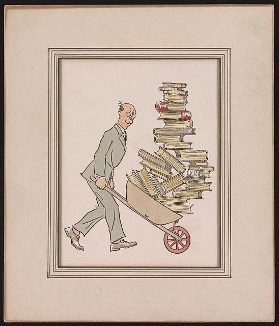 Ink and colour drawing of Philadelphia bookseller George JC Grasberger pushing a wheelbarrow of books, 1930s