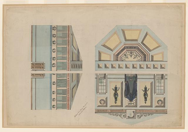 [United States Capitol, Washington, D.C. Interior elevation & reflected ceiling plan, Senate Chamber]