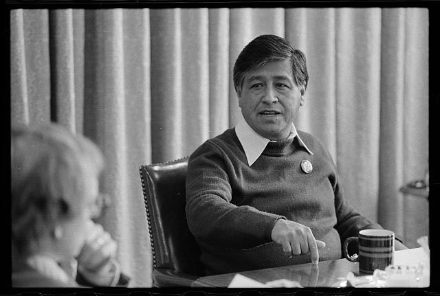 Interview with Cesar Chavez. 4/20/1979. [Chavez talking and pointing downwards]