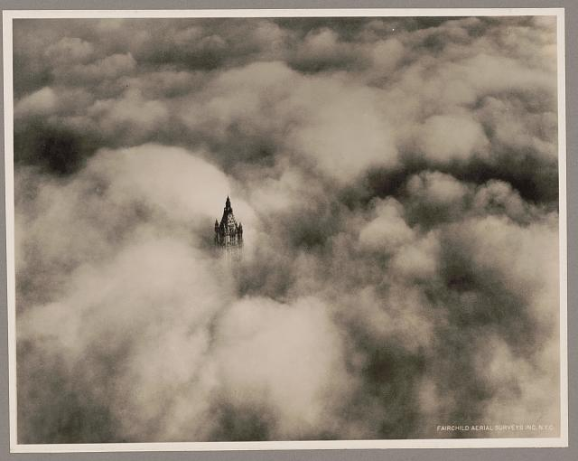Woolworth tower in clouds, New York City