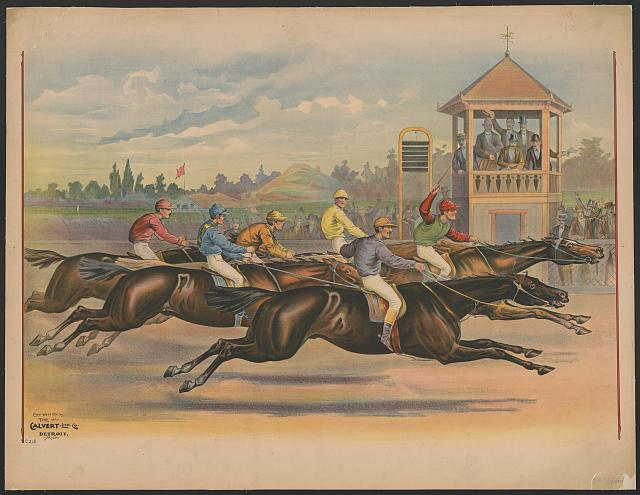 [Finish line of a horse race with six horses and riders]