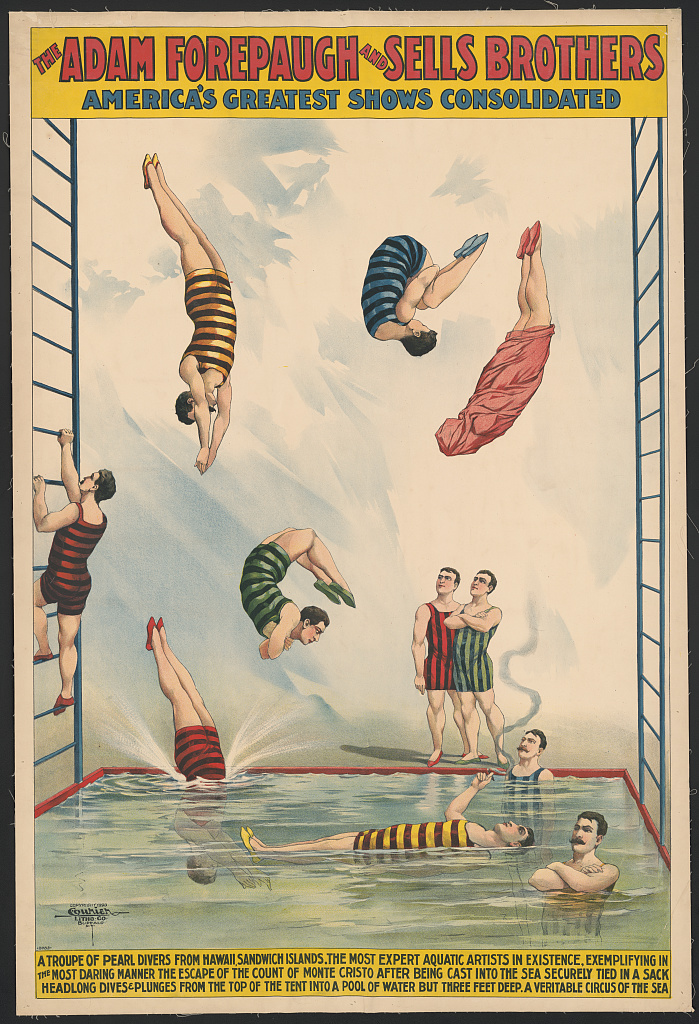 The Adam Forepaugh and Sells Brothers America's greatest shows consolidated--A troupe of pearl divers from Hawaii, Sandwich Islands ... A veritable circus of the sea. Library of Congress. Prints and Photographs Division Washington.