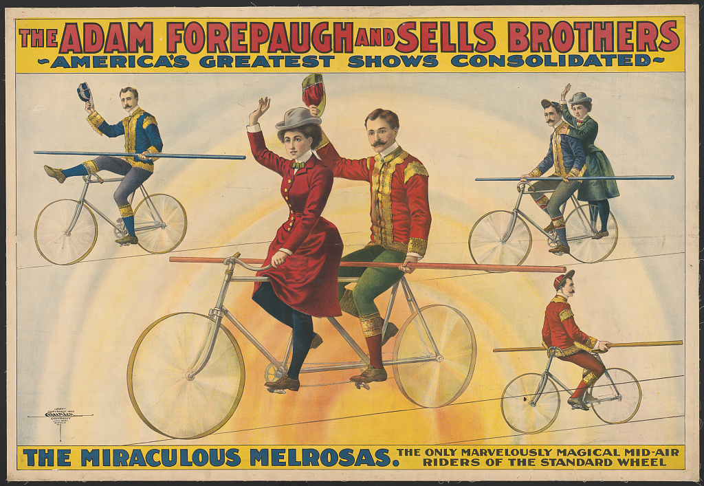 The Adam Forepaugh and Sells Brothers, America's greatest shows consolidated--The miraculous Melrosas. Library of Congress. Prints and Photographs Division Washington .
