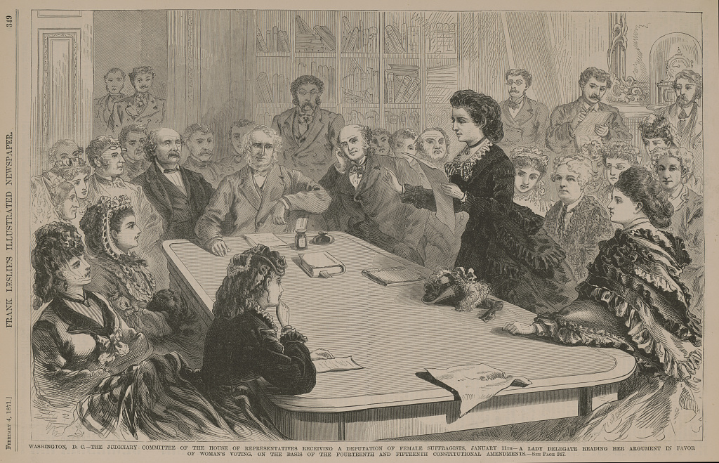 Washington, D.C. The Judiciary Committee of the House of Representatives receiving a deputation of female suffragists, January 11th