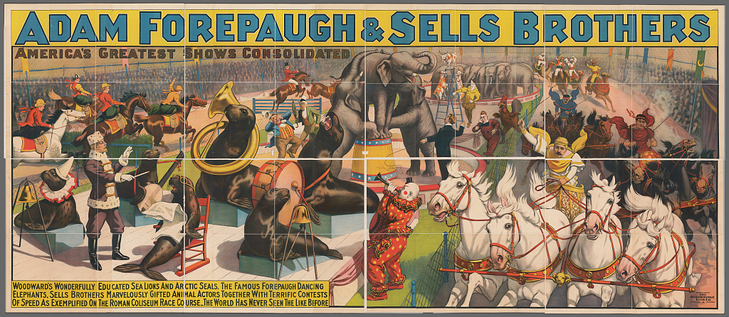 Adam Forepaugh and Sells Brothers America's greatest shows combined. Woodward's wonderfully educated sea lions and artic seals ... Library of Congress. Prints and Photographs Division Washington.