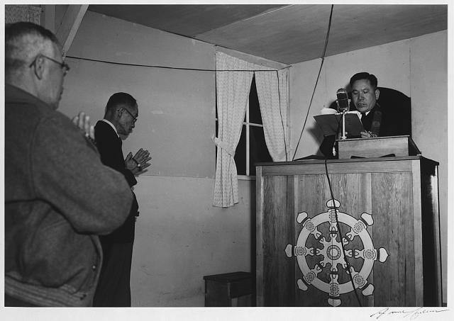 Buddhist service, Manzanar Relocation Center, California