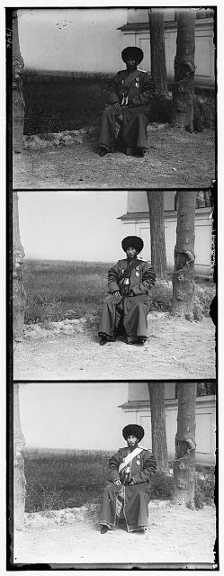 [Isfandiyar, Khan of the Russian protectorate of Khorezm(Khiva), full-length portrait, seated outdoors]