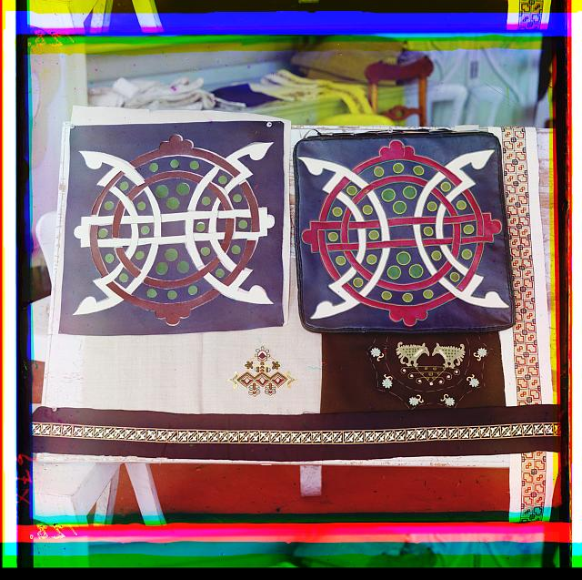 [Display of patterned and embroidered cloth]