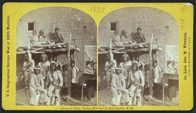 "Group of Zuni ""Indian Braves,"" at their Pueblo, N.M."