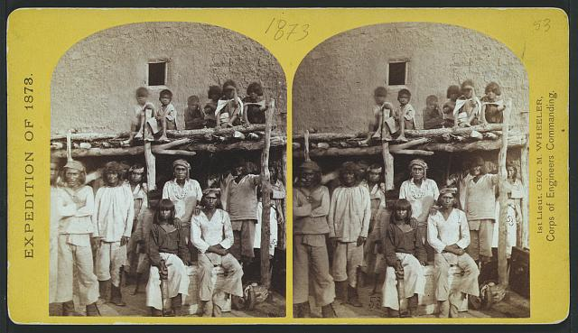 "Group of Zuni Indian ""braves,"" at their Pueblo, N.M."