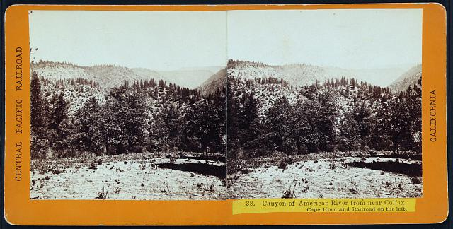 Canyon of American River from near Colfax. Cape Horn and railroad on the left