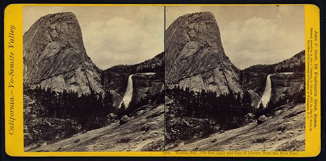 Nevada Fall, (700 feet high) and Cap of Liberty, from the New Trail