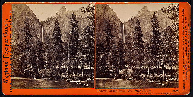 Pohono, or the Bridal Veil, 900 feet, Yosemite Valley, Mariposa County, Cal.