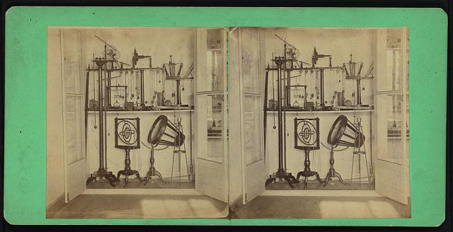 [Collection of scientific equipment at Dickinson College, including Dr. Joseph Priestly's burning lens and air gun and Professor Walter R. Johnson's rotascope]